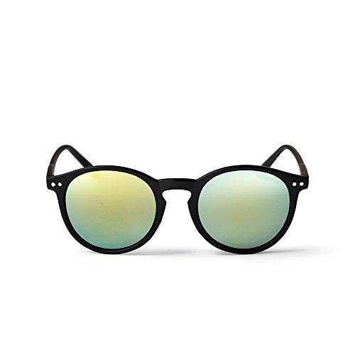 CHPO Unisex-Erwachsene Mavericks Sonnenbrille, Schwarz (Black/Green Yellow Mirror), 48