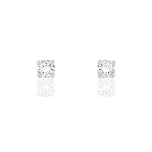 HISTOIRE D'OR - Boucles d'Oreilles Puces Or Blanc - Femme - Or blanc 750/1000
