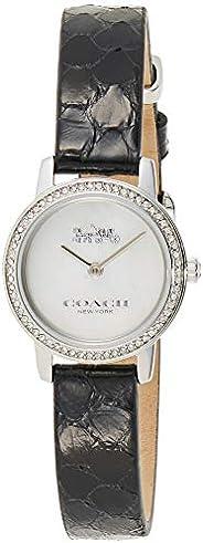 Coach Women's White Mother Of Pearl Dial Black Calfskin Watch - 1450