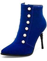 Botas para Mujer de otoño e Invierno de Gran tamaño y con Perlas de Tubo bajo para Mujer, Azul, 40