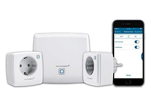 Homematic IP Smart Home Starter Set Licht, Phasenabschnitt, zum Dimmen und Ein- bzw. Ausschalten von dimmbaren LEDs, Energiesparlampen, NV-Halogenlampen, HV-Halogenlampen und Glühlampen, 151671A0