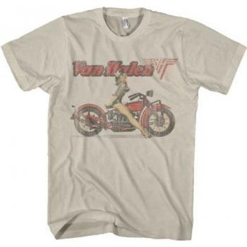 Van Halen Biker Pinup Beige Uomo T-shirt (Small)