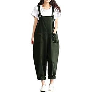 Style Dome Latzhose Damen Oversize Retro Träger Lange Sommerhose Lange Overall Jumpsuit Playsuit mit Taschen