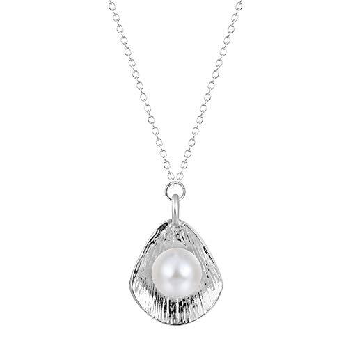 XZZZBXL Damenhalskette Minimalistische Temperament Imitation Pearl Shell geformte Anhänger mit Halskette Schmuck Halsketten Halskette für Frauen Schlüsselbein Kette