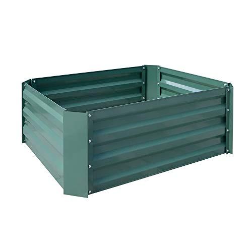 AUFUN Hochbeet verzinkt Stahl Kräuterbeet Gartenbeet Rechteckig für Balkon und Garten, Pflanzentrog, pflegeleicht, Grün