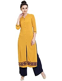 Identiti Women's Wrap Kurta(558-74123-36 _Yellow_Small)