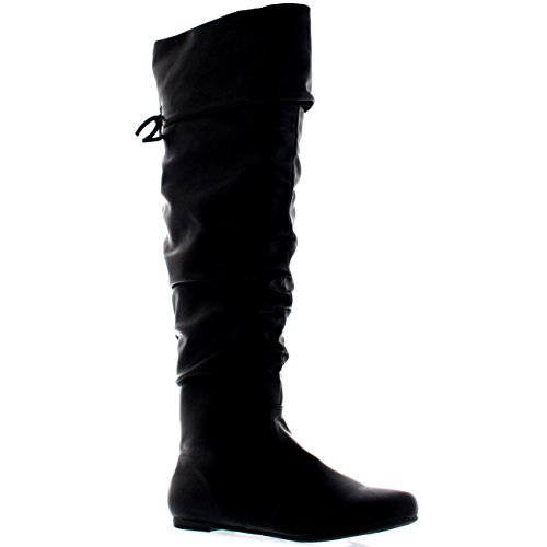 Femmes Equitation Cuisse Haute Hiver Chaussures Mode Grand Pirate Botte Noir