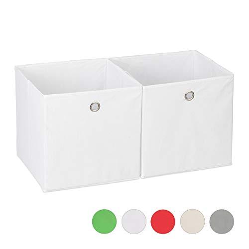 Relaxdays Aufbewahrungsbox Stoff 2er Set, quadratisch, Aufbewahrung für Regal, Stoffbox in Würfelform 30x30x30 cm, weiß
