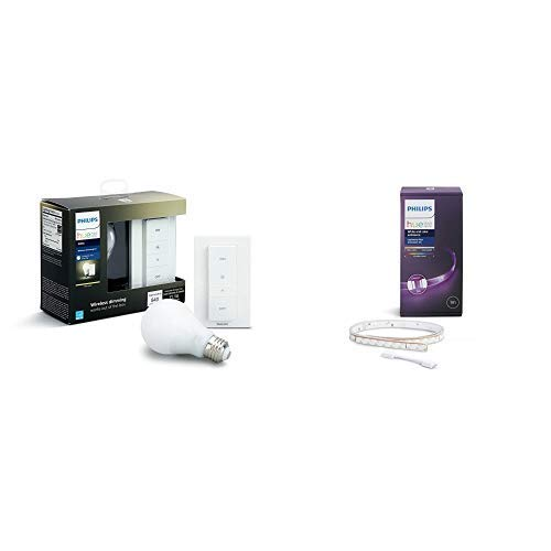 Philips Hue White Wireless Dimming Kit, E27 LED Lampe inkl. Dimmschalter, dimmbar, warmweißes Licht &  Hue LightStrip+ Erweiterung für Basis Set, 1m, dimmbar, bis zu 16 Millionen Farben
