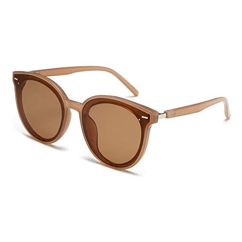 Chudanba Mode Runde Sungalsses Trendy Plastic Shades Damen Herren Unisex Eyewear,Brauner Rahmen Braun