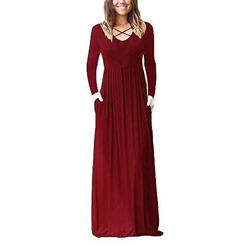 Abendkleider Elegant Für Hochzeit Kurz Rot,Winterkleider Damen Lang,Retro Kleider 50Er,Abendkleider Sommerkleider Damen Sommerkleider Damen Knielang Lange Sommerkleider Kleider Damen V-Ausschnitt Rüc