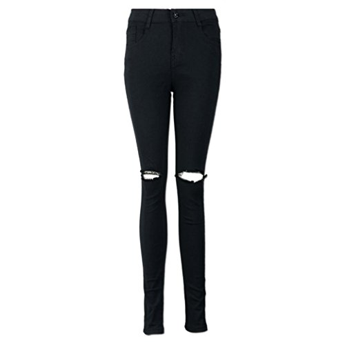 Vectry Jeans Damen Slim Fit Skinny Fit Jeans Destroyed Herbst Jogger Push Up Ankle Straight Leg Mit LöChern Stretch Denim Relaxed Fit Aufnäher, Coole Gerippte Knie Geschnittene Lange (S, Schwarz)