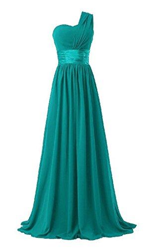 Honeystore Damen's A-Linie/Princess-Linie Eine Schulter Bodenlang Chiffon Brautjungfernkleid Abendkleid mit Rüschen Grün (4 Kostüme Mieten)