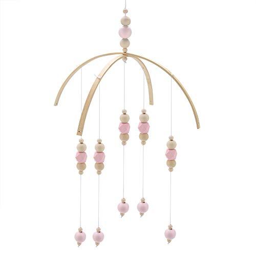 Zerodis Carillones de Viento de Granos de Madera Estilo Nórdico Habitación de Los Niños Cama Colgando Decoración Hecha A Mano (Pink)