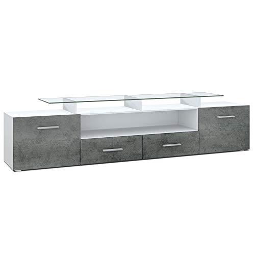 Vladon TV Board Lowboard Almada V2, Korpus in Weiß matt/Front in Dunkel Beton Optik