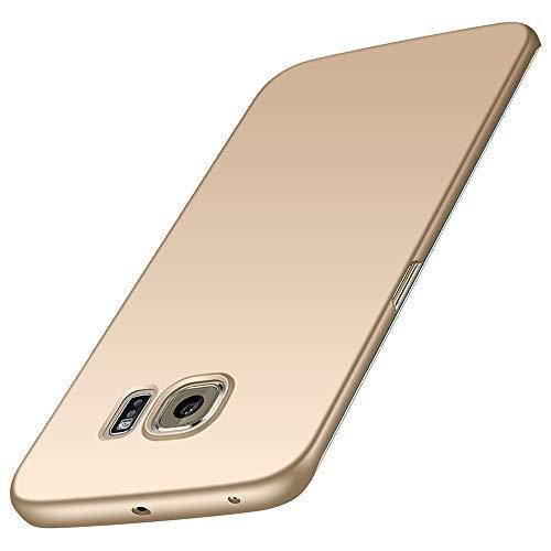 Foto Cover per Samsung Galaxy S6 Edge, ZUERCONG [Serie Liscia] Ultra-sottile Anti-impronte Anti-graffio Antiurto Custodia Protettiva in Plastica Rigida Cover per Galaxy S6 Edge G9250,Oro liscio