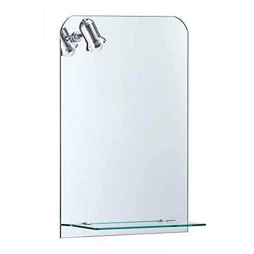 Moderner Spiegel mit Beleuchtung u. Glasablage - ca. 70 x 50 cm