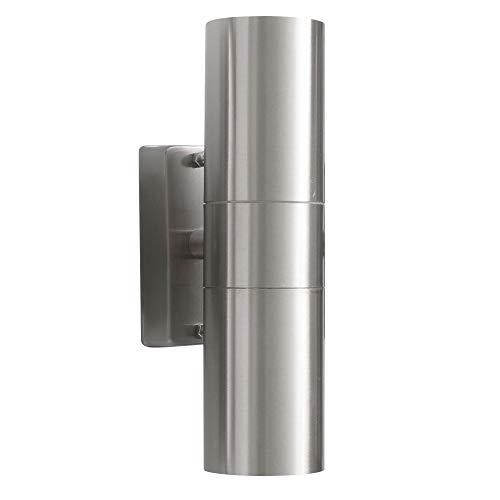 MAXKOMFORT® Aussenleuchte 109C2 inkl. LED 3W Warmweiß Wandleuchte up&down Aussenwandleuchte Wandlampe Edelstahl 2x GU10 Fassung