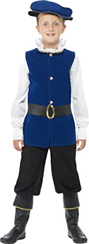 Bauer Kid Kostüm - Kinder Fancy Kleid Tudor Mittelalter Boy Kostüm Jungen komplett Outfit Royal Blau, Blau