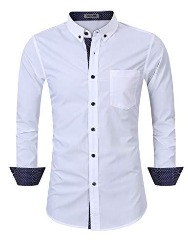 KUULEE Herren Hemd Regular Fit/Slim Fit Business Hemd Kontrastfarbe Langarmhemd für Männer (Verpackung MEHRWEG)