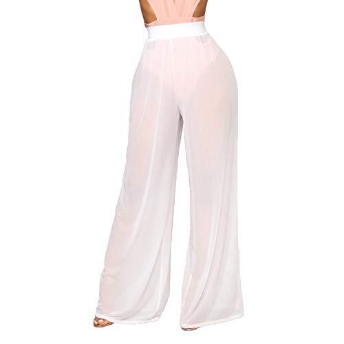 Frecoccialo Damen Reizvolle Transparente Sommerhose Hohe Taille Lose Fit Erotische Lange Hosen Dünne Mesh Weite Bikini Beinhosen (Weiß, M)