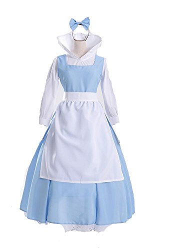 �ne und Das Biest Bell Kleid Anime Cosplay - Kleidung Halloween zimmermädchen Kleid (L) (Belle Aus Die Schöne Und Das Biest Kostüm Für Erwachsene)