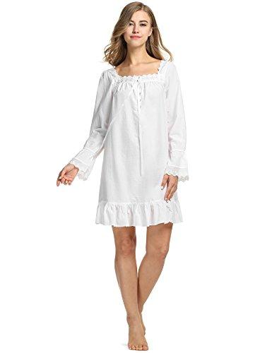 Avidlove Damen Nachthemd Long-sleeve Knee-length