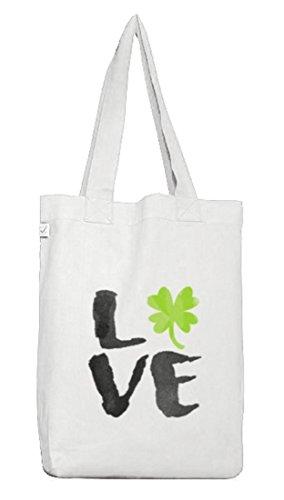 Saint Patrick´s Day St. Patricks Day Jutebeutel Earth Positive Love St. Patricks Day White