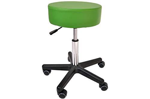 Promafit Rollhocker Fritz mit PU-Rollen - Sitzstuhl Arbeitsstuhl Arbeishocker Rollhocker Hocker in Drehhocker Bürostuhl Praxishocker - ergonomisch - stufenlos höhenverstellbar (Grün)