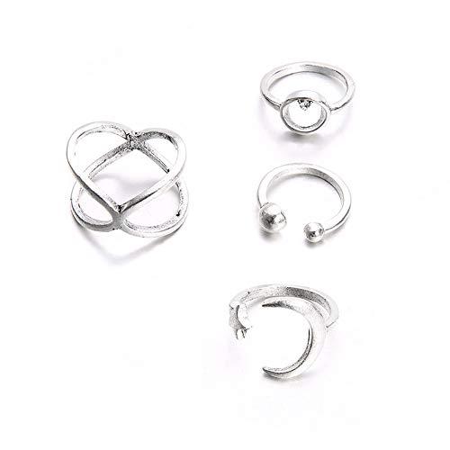 Ouken 4 Stück/Set böhmischer Vintage Sun Moon Rhinestone Joint Knuckle Ring setzt Finger Ringe