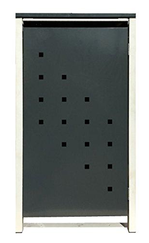 BBT@ | Hochwertige Mülltonnenbox für 4 Tonnen je 240 Liter mit Klappdeckel in Grau / Aus stabilem pulver-beschichtetem Metall / Stanzung 3 / In verschiedenen Farben sowie mit unterschiedlichen Blech-Stanzungen erhältlich / Mülltonnenverkleidung Müllboxen Müllcontainer - 8