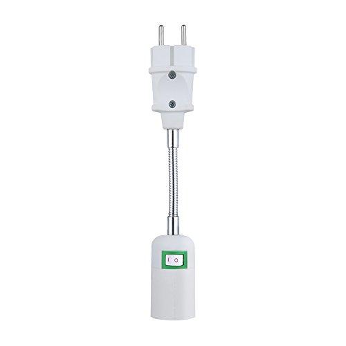 E27 Sockel Lampenfassung Lampensockel Steckdose Konvert Adapter Netzteil in der europäischen Normsteckdose universal einstellbar mit Schalter -