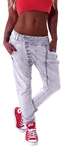 Mozzaar Damen Boyfriend Jeans Baggy Haremshose Harem Stretch Oversize in Weiß Grau Khaki M 38 L 40 XL 42 XXL 44 XXL 46 XXXXL 48 gr größe Size Denim dehnbar Stretch übergröße Over Size Big locker Denim Baggy Jeans