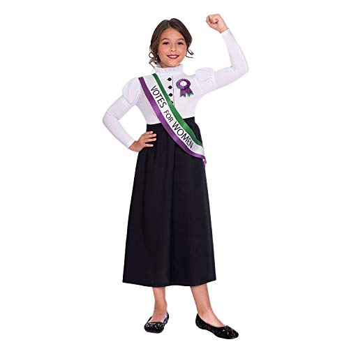 Amscan Dress Up- Suffragette Girl Disfraz, Color black, white, green and purple, 8-10 años (9904689)