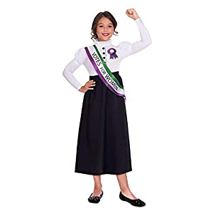 Amscan Dress Up- Suffragette Girl Disfraz, Color black, white, green and purple, 10-12 años (9904690)