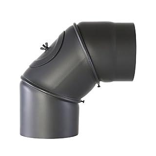 Kamino-Flam Uni-Knie schwarz mit Tür, verstellbarer Winkel von 90 ° - 180 °, Abgasrohr aus Stahl mit hitzebeständiger Senotherm® Beschichtung, geprüft nach Norm EN 1856-2, Durchmesser: ca. 120 mm