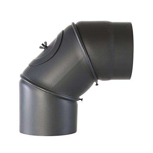 Kamino Flam Uni-Knie schwarz mit Tür, verstellbarer Winkel von 90 ° – 180 °, Abgasrohr aus Stahl mit hitzebeständiger Senotherm® Beschichtung, geprüft nach Norm EN 1856-2, Durchmesser: ca. 120 mm