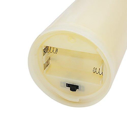 STpro Accionado por bater¨ªa Sin llama Parpadeo Borde ondulado Pilar LED Velas de cera con Remoto,Marfil,Dimensiones 7.6cm*12.7cm