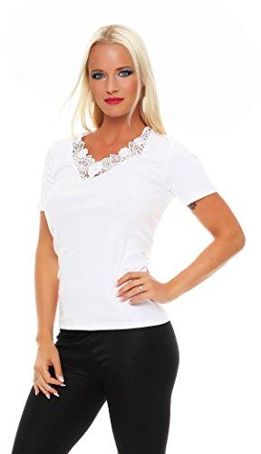 Damen-Hemd mit Spitze und V-Ausschnitt (Shirt, Top, Damenhemd) Nr. 404 ( Weiß / 40/42 - (Medium) ) - 2