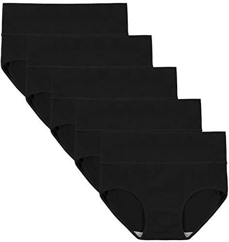 INNERSY Damen Unterwäsche Hohe Taille Full Briefs Tummy Control Cotton Höschen Abnehmen Solid Color Knickers 5 Pack(S-EU 38,Black) (Menstruation Höschen)