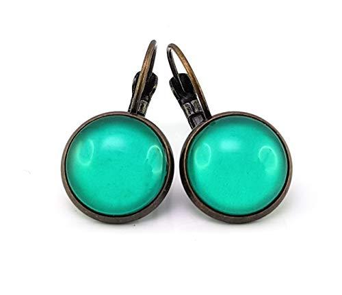 Stechschmuck Ohrringe Ohrhänger Bronze Farben Türkis Damen Kinder Kitsch Kawaii 14mm 1 Paar Nickelfrei (Bronze-türkis-ohrringe)