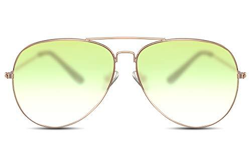 Cheapass Sonnenbrille Gold Grün Transluzent Fliegerbrille Piloten-Sonnenbrille Metall Damen Frauen