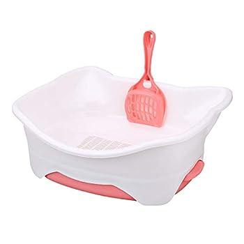 Wcx Rotin Toilette Chat,Amovible Chats Loo Jante Plastique Animal Compagnie Toilette Couche Double Semi-fermé Petit Provisions (Couleur : Pink, Taille : 58X37X21cm)