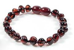 Idea Regalo - J's Amber, braccialetto o cavigliera in 100% ambra baltica originale, colore rubino (12cm, 13cm, 14cm, 15cm, 16cm) - -, colore: Ruby, cod. Ruby
