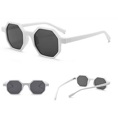 CCTYJ Einfache Sonnenbrille UV400 ProtectionSquare kleinen Rahmen Retro-Sonnenbrille Unisex - weiß grau