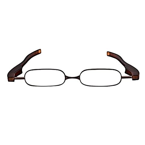 Skitic Applied Rotatable Folding Reading Glass Metal Frame Plastic Arms Oval Lens Individuality Presbyopic Glasses Universal Power/Diopter +1.0 +1.5 +2.0 +2.5 +3.0 +3.5 +4.0 for Unisex Women Man - Coffee