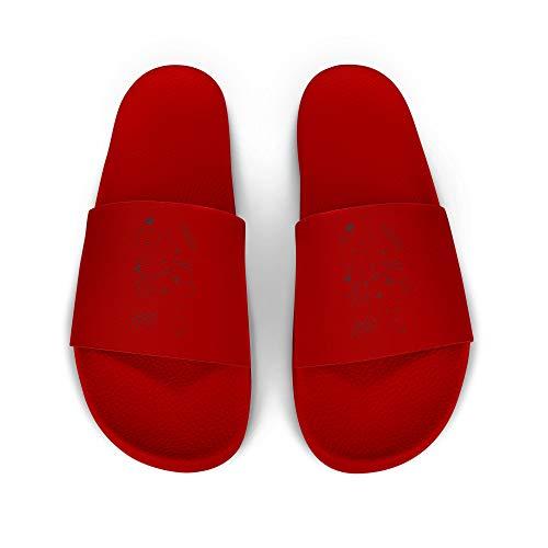 licaso iD Lette Badelatsche mit Galaxy Print I rutschfeste Sohle in ROT I Gr. 40 Schuhe I Badeschlappen Bedruckt Unisex I Männer Hausschuhe Frauen Sandalen I 1 Paar Badeschuhe