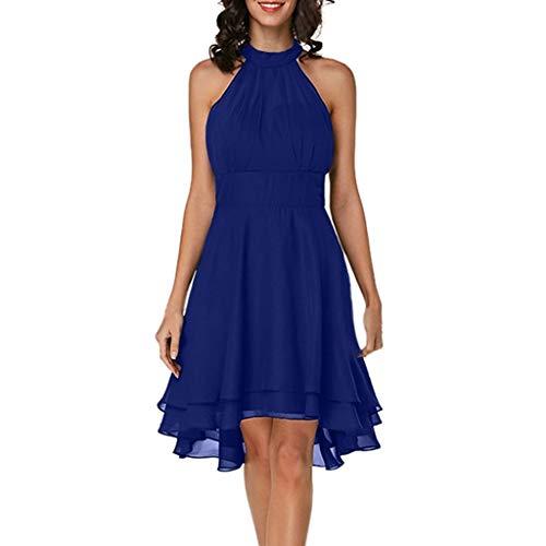 QIMANZI Damen Abendkleid Ärmellos Cocktailkleid Neckholder Elegant Brautjungfernkleid Asymmetrisches Partykleid(Blau,DE-34/CN-S)