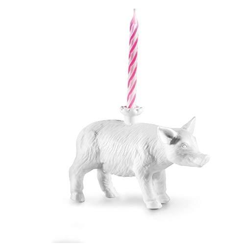 Donkey Products Happy Zoo Day Lucky, Kerzenständer Schwein, inkl. 4 Kerzen, Porzellan, Weiß, 16 cm, 210794