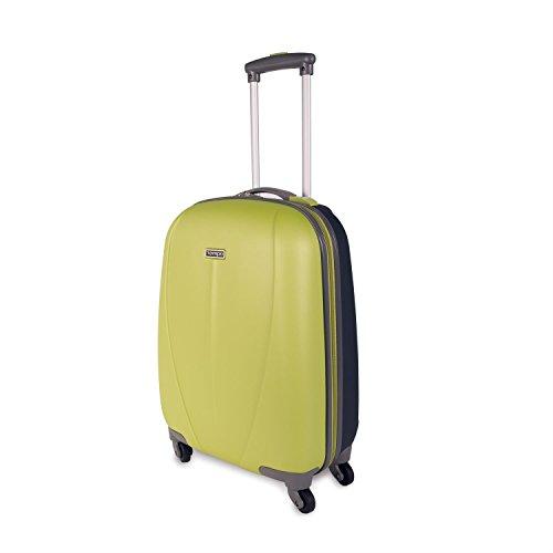 TEMPO - 64251 Maleta trolley 50 cm cabina ABS. Equipaje de mano. Rígida y ligera. Mango telescópico, 2 asas 4 ruedas. Ideal vuelos low cost Ryanair Vueling., Color Verde-Azul oscuro